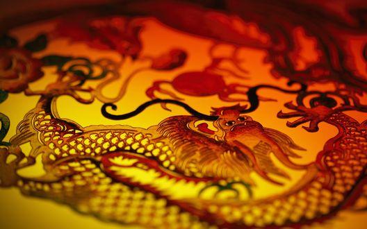 Обои Нарисованные китайские драконы