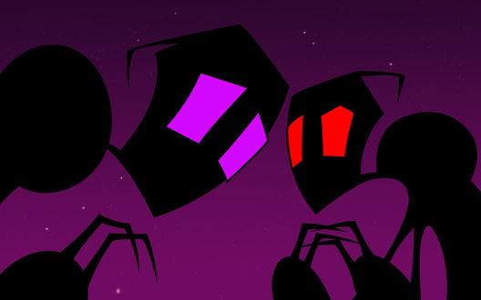 Обои Силуэты любопытных инопланетян на фоне ночного неба