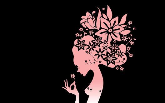 Обои Цветы растут из головы нежной девушки