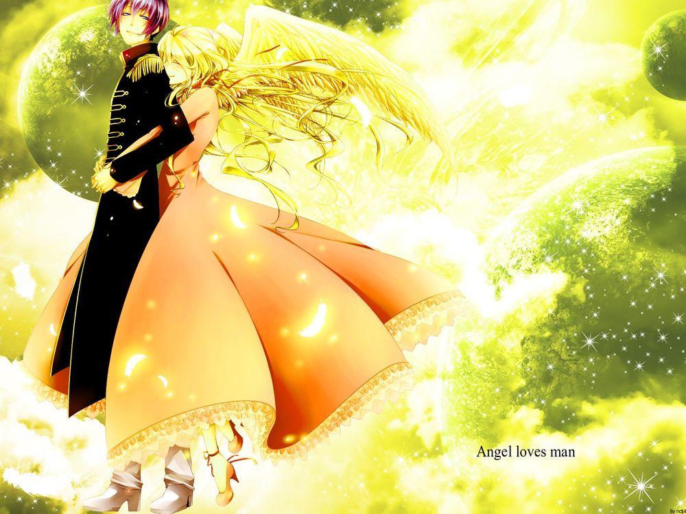 Обои для рабочего стола Красивая девушка-ангел обнимает парня (Angel loves man / Ангел любит мужчину)