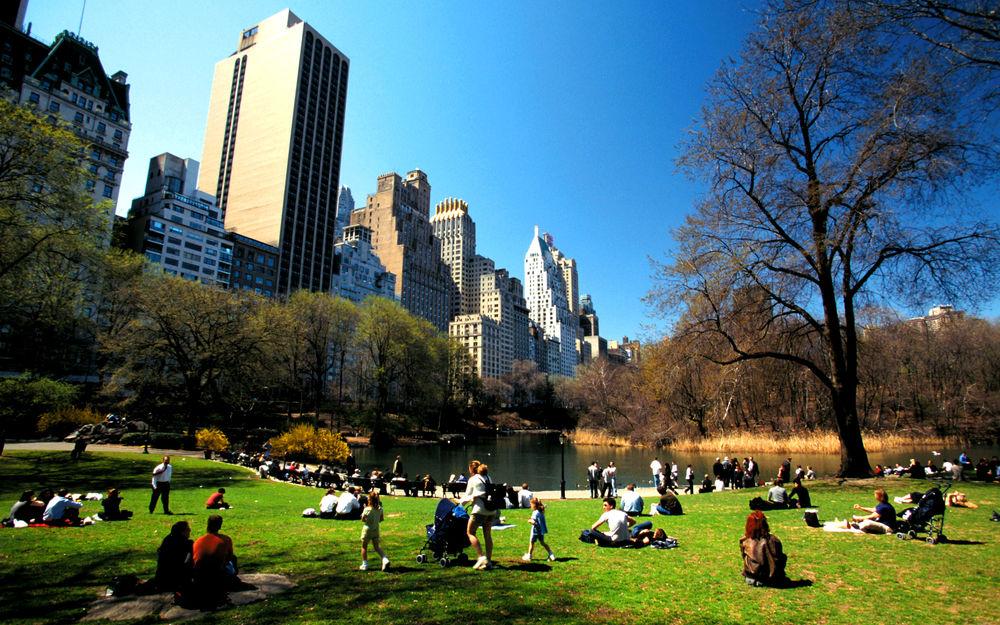 Обои для рабочего стола Множество людей наслаждаются теплым днем ранней осени в Центральном Парке / Central Park, Нью-Йорк / New York, США