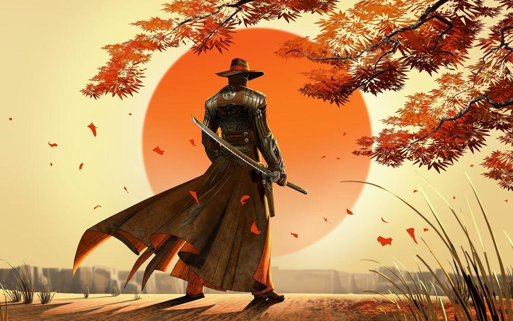 Обои для рабочего стола Мужчина в плаще и шляпе с мечом в руках смотрит на заходящее солнце, на него падают листья дерева