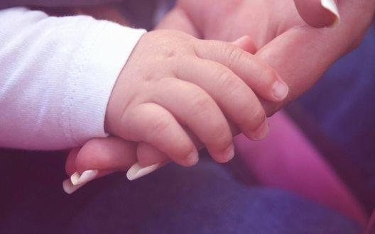 Обои Девушка взяла ручку своего малыша