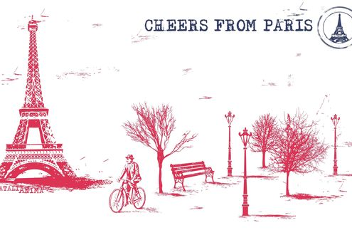 Обои Рисунок эйфелевой башни, бульвар, скамейки, фонари и велосипедист (Cheers from Paris, Natali Anima)