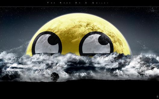 Обои Ночью вместо луны взошел гигантский желтый смайл (the rise of a smiley)