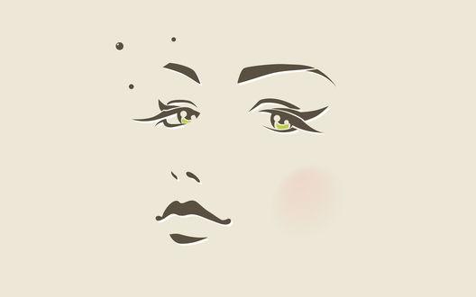 Обои Рисунок лица девушки, особо четко прорисовываются брови, глаза, нос, губы и легкий румянец