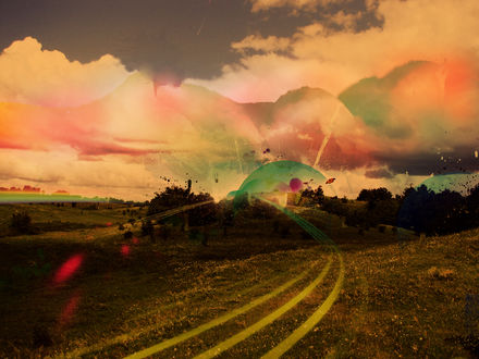 Обои Дорога ведущая в лес на фоне красивых облаков