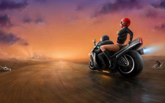 Обои Девушка с парнем на мотоцикле едет к городу
