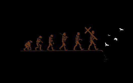 Обои Эволюция человека, от обезьяны к богослужению, после религии идет пропасть