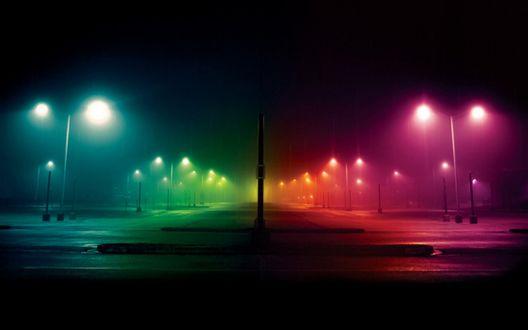 Обои Цветные фонари ночного безлюдного города