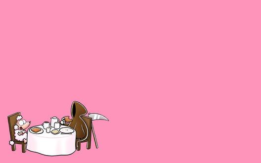 Обои К пуделю в гости пришла смерть с косой, они мило беседуют и пьют чай