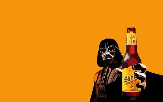 Обои Дарт Вейдер / Darth Vader предлагает нам бутылку пива Shim bock