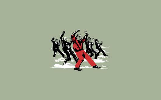 Обои Мужчины - исторические деятели, танцуют на сером фоне