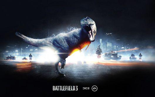 Обои Огромный Рекс стоит на фоне танков и военных, BATTLEFIELD 03