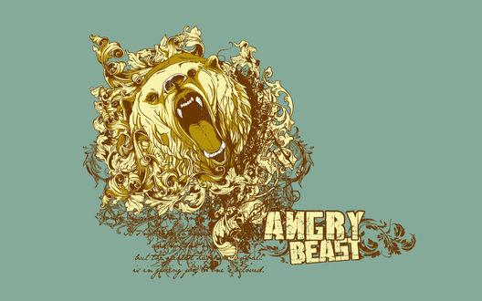 Обои Голова разъяренного медведя появилась из узора (Angry Beast)