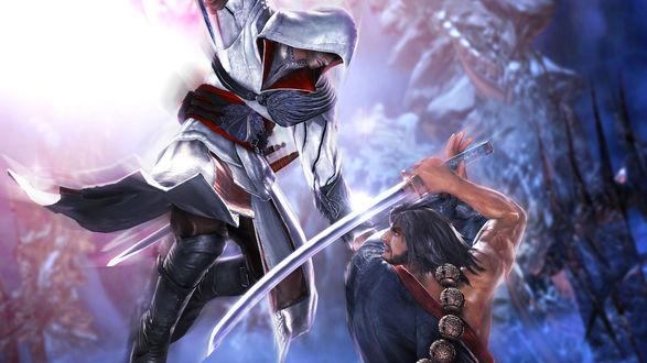 Обои Игра Soulcalibur v, бойцы дерутся на саблях