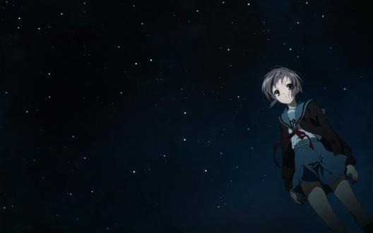 Обои Нагато Юки из аниме Меланхолия Харухи Судзумии / The Melancholy of Haruhi Suzumiya ночью на фоне звёздного неба