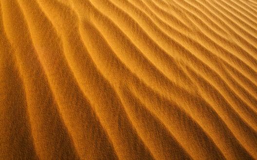 Обои Ветер переносит песчинки словно пыль, образуя красивые узоры на песке в пустыне