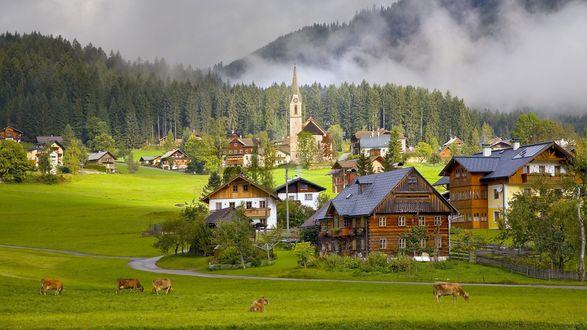 Обои Деревня Гозау в австрийских альпах / Gosau village, Austria