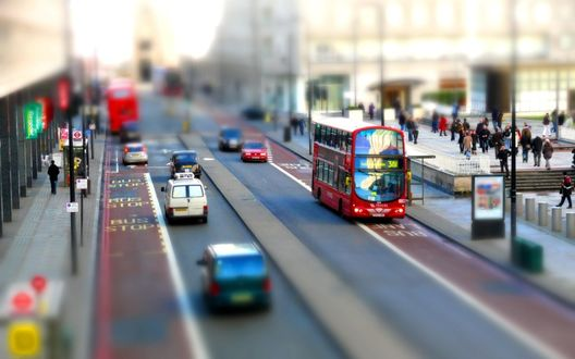 Обои Улицы Лондона / London с эффектом тилт шифт / tilt shift