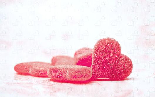 Обои Мармеладные конфеты в виде сердец