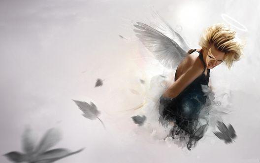 Обои Девушка с крыльями в дымке и осенних листьях