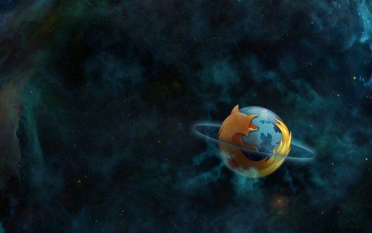 Обои Логотип Mozilla Firefox в космосе