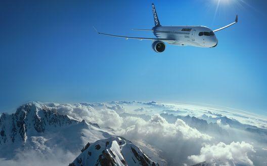 Обои Самолёт пролетает очень низко над горами