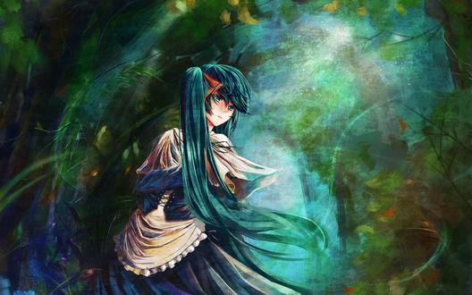 Обои Вокалоид / Vocaloid Мику Хацунэ / Miku Hatsune в лесу