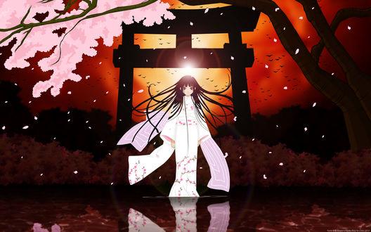 Обои Enma Ai / Энма Ай из аниме Адская девочка / Hell Girl / Jigoku Shoujo в красивом белом кимоно с розовыми цветами сакуры в лучах закатного солнца стоит на воде отражаясь в ней