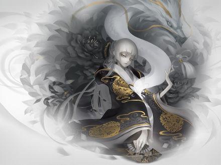 Обои Девушка в чёрном кимоно с золотыми рисунками и китайский дракон с золотыми усами