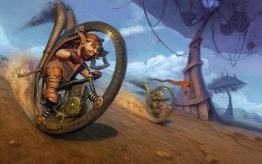 Обои Гномы устроили гонки на одноколесных мотоциклах