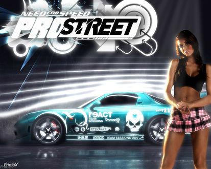 Обои Need for speed pro street, девушка в клетчатой юбке и машина (react, team sessions 2007)