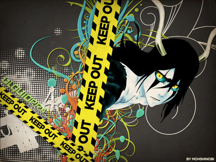 Обои Улькиорра Шиффер из аниме Блич / Bleach и узоры граффити (Ulquiorra Schiffer 4 KEEP OUT by Mohshinobi)