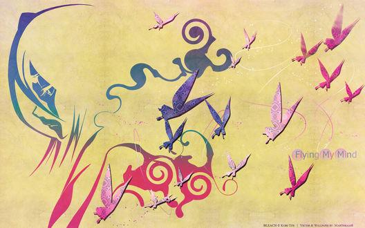 Обои Рукия Кучики из аниме Блич / Bleach и абстрактные бабочки (Flying My Mind)