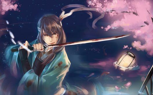 Обои Котаро Кацура / Kotaro Katsura из аниме «Gintama / Серебряная душа» с катаной на фоне сакуры