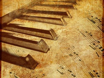 Обои Нарисованные клавиши пианино и ноты