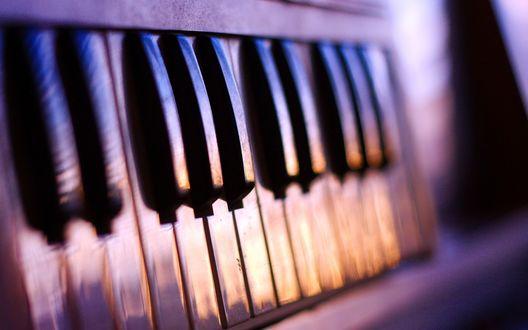Обои Перевёрнутые клавиши фортепьяно в сиреневых тонах