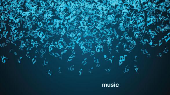 Обои Ярко-бирюзовые неоновые ноты на тёмном фоне (music)