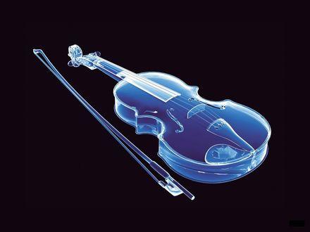 Обои Стеклянная голубая скрипка