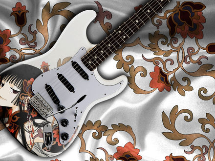 Обои Электрогитара Fender Stratocaster с аниме принтом на расписном шелковом покрывале