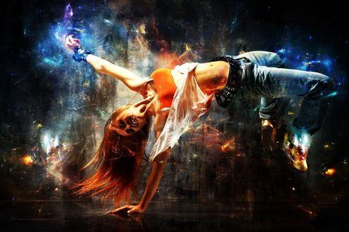 Обои Абстракция танца, девушка стоит а руке