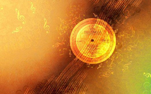 Обои Оранжевая пластинка, напоминающая солнечный диск, и ноты (PARLOPHONE)
