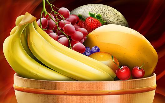 Обои Бананы, виноград, дыни и клубника - натюрморт