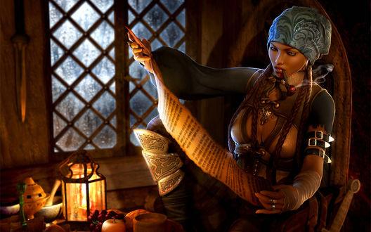 Обои Девушка-пиратка сидит в каюте, курит трубку и читает какой-то документ