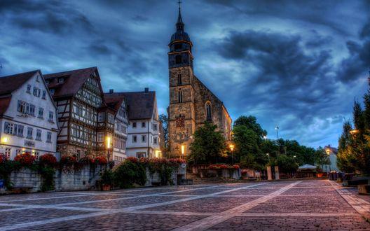 Обои Цетральная площадь в городе Бё́блинген / Böblingen,  Германия / Germany
