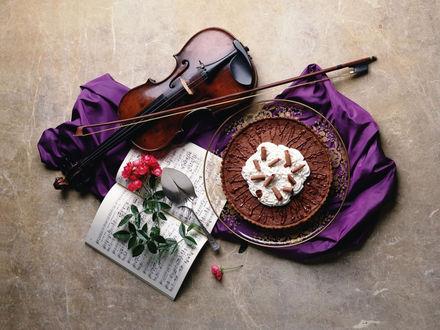 Обои Скрипка, веточка цветов, нотная книга и торт на блюде лежат на полу на фиолетовой ткани