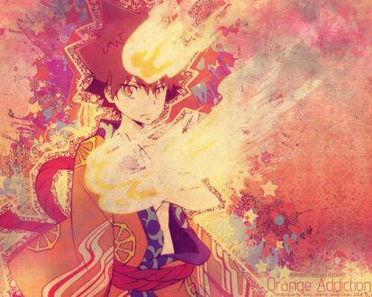 Обои Савада Тсунаёши из аниме Репетитор-киллер Реборн / Katekyo Hitman Reborn (Orange Addiction)