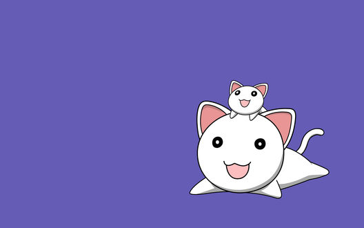 Обои Два котика на сиреневом фоне лежат и улыбаются