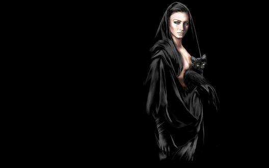 Обои Девушка в черном держит кошку на руках